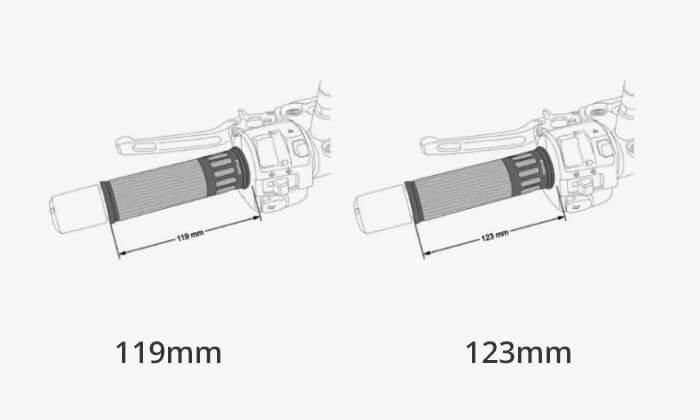 Puños de moto de 119mm o de 123mm